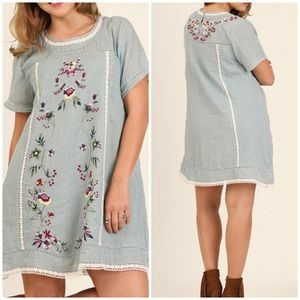 Umgee Blue Floral Embroidered Mini Dress